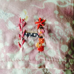 Hのイニシャル刺繍拡大